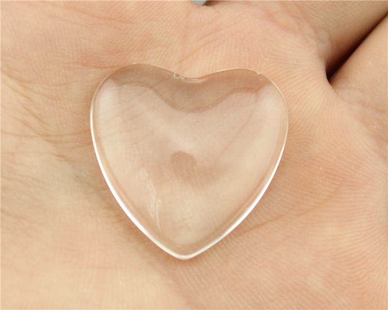 4pcs 25mm heart Shape Flat Back Clear Glass Cabochon<br><br>Aliexpress