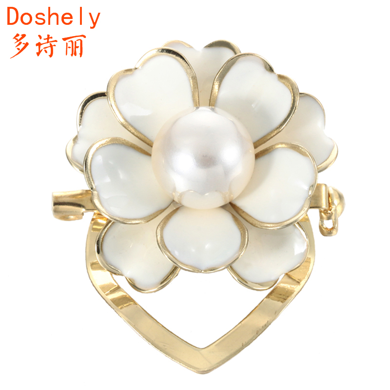 Fashion Jewelry Hand Painting Camellia Flower Gold Silver Plated Imitation pearl Breastpin Corsage Scarf buckle clips Brooch pin(China (Mainland))