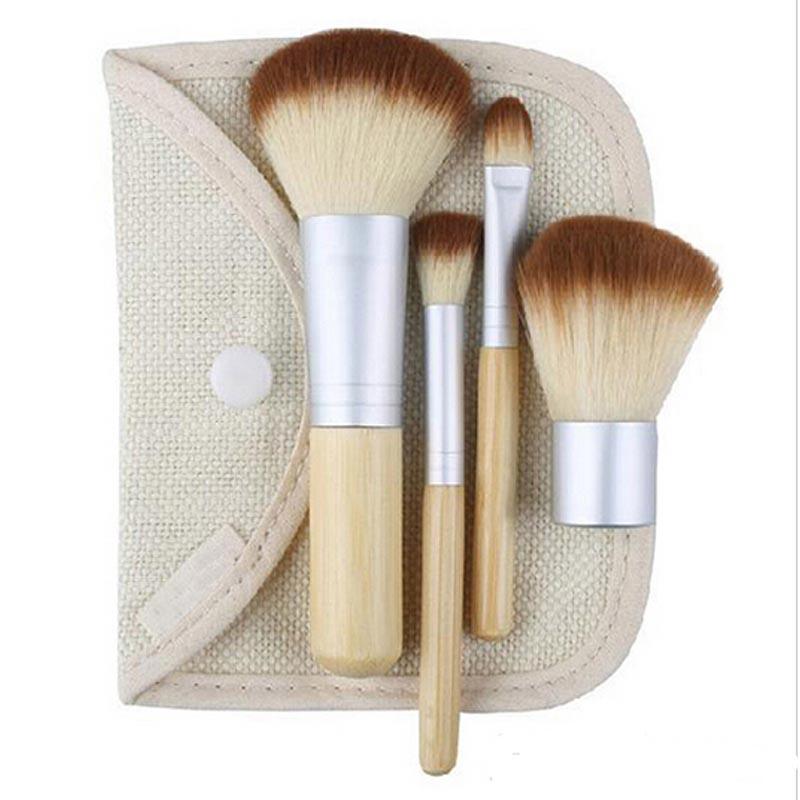 Hot Sale 4PCS Bamboo Handle Makeup Brush Set Cosmetics Kit Powder Blush Make up Brushes styling tools Face care(China (Mainland))