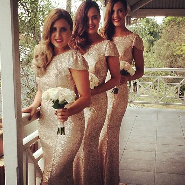 Charming Gold Long Bridesmaid Dresses Sequined Floor Length Bridesmaid Dress 2015 Prom Dress Wedding Party Dress(China (Mainland))