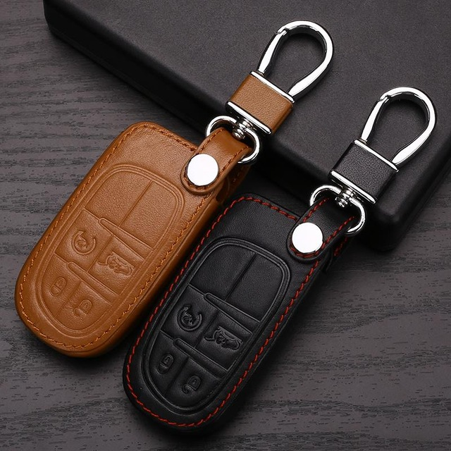 Genuine Leather Car Keychain Key Case Cover For Jeep Grand Cherokee Compass Patriot Dodge Journey Chrysler 300C Car Key Rings(China (Mainland))