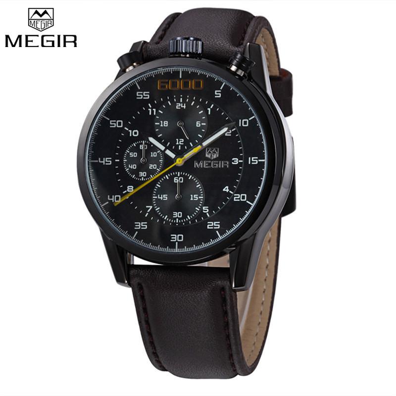MEGIR Мужчины Хронограф Водонепроницаемый Многофункциональные Часы Известный Бренд Роскошные Кожаные Часы Военные Часы Relogio Masculino