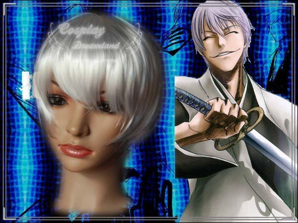 Wholesale Free Shipping Hot Selling Cheapest Halloween Bleach Abarai Cosplay Wig Ichimaru Gin Wig without headband