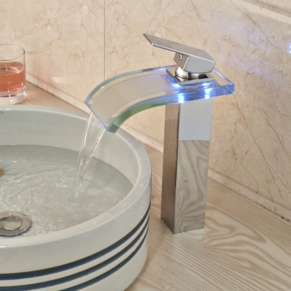 led single handle basin vessel sink faucet single hole bathroom sink
