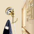 European style Luxury Golden Bathroom TowelRack With Hooks For Towel Coat Wall Mount Free Shipping
