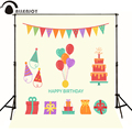 Allenjoy Photographic background heart balloon cake gift baby happy birthday photo background photography backdrops photocall