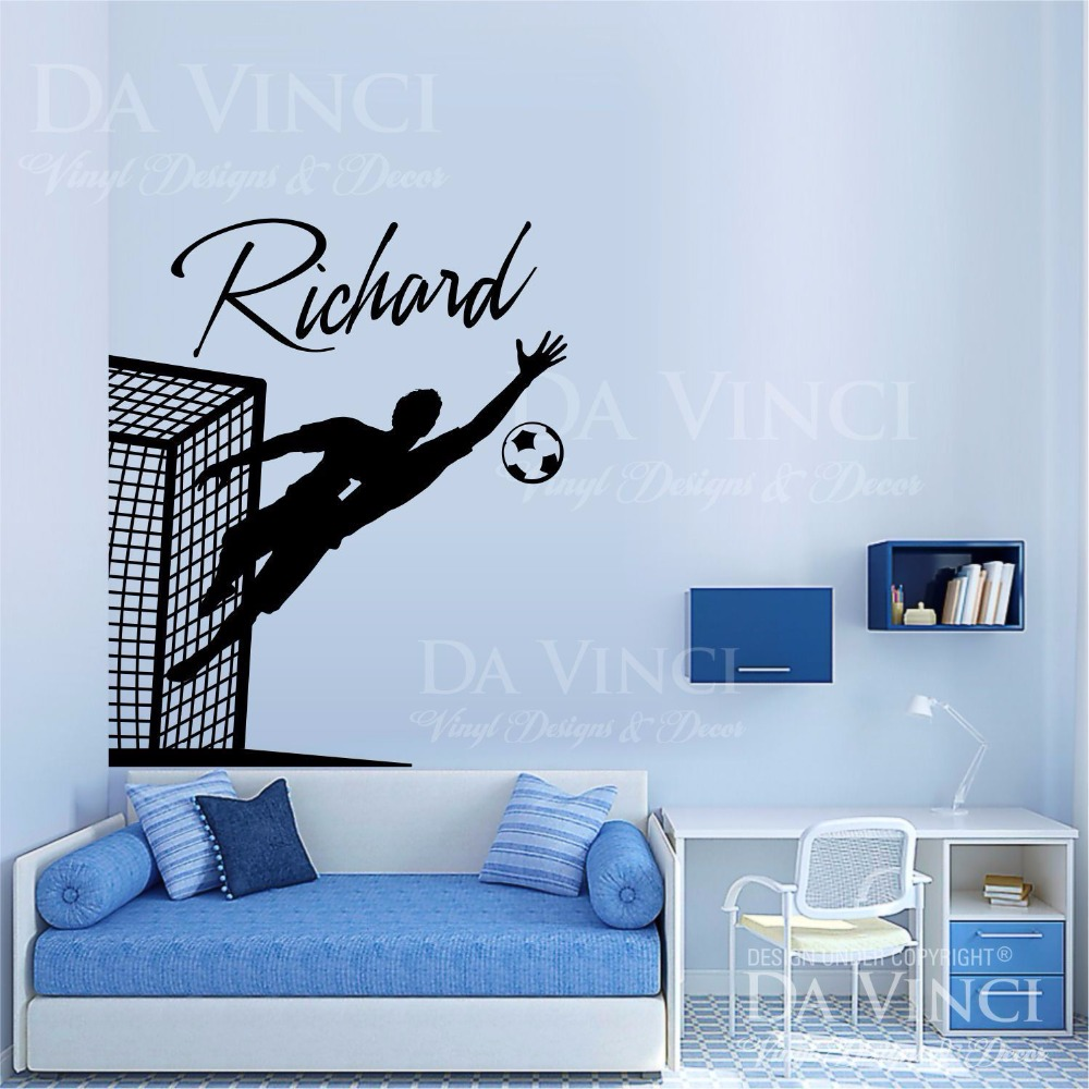 vinyl wall decal personalized custom boyl name football sport art wall