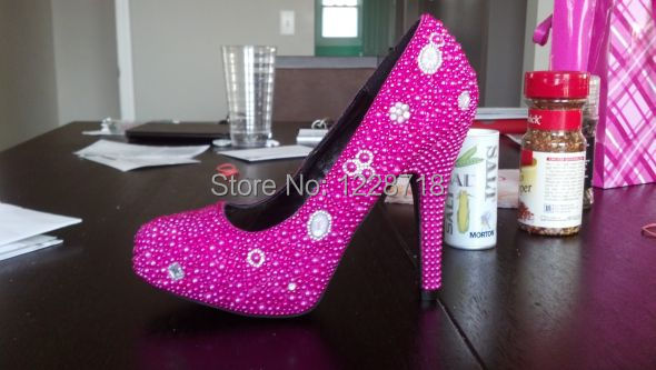 Hot pink rhinestone heels - ChinaPrices.net