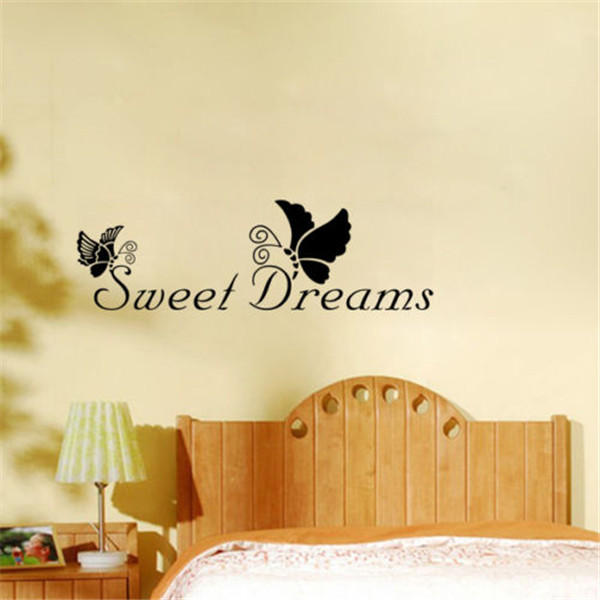 Fashion Design New SWEET DREAMS Butterfly Vinyl Quote Wall Sticker Decal For Home Decor Hot Sale(China (Mainland))
