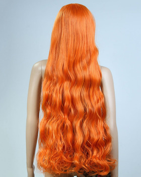 Long Anime Costume Curly Orange Heat Resistant Wig For Cosplay