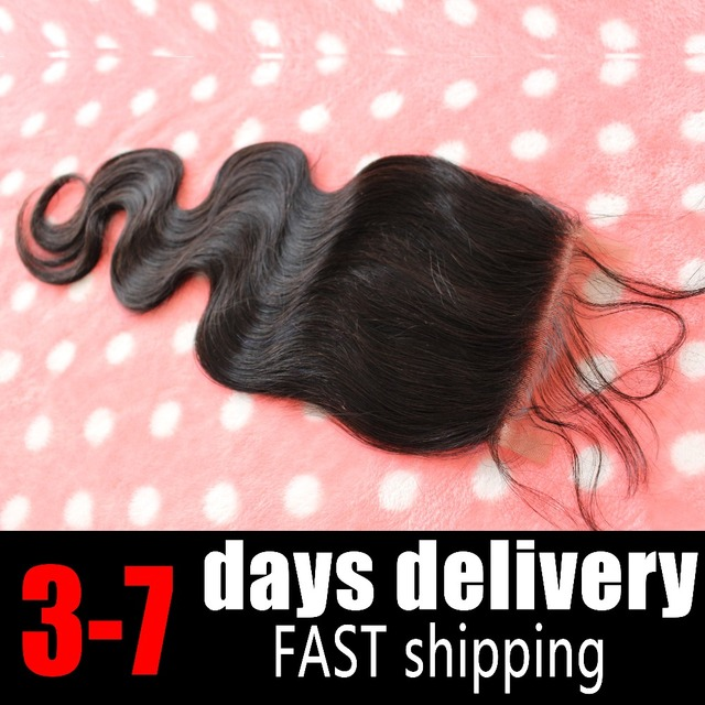 Fast Shipping 4*4 Body Wave 2 Curved O Part 3 Part Part Lace Closure Bleached Knot Brazilian Virgin Black Human Hair Top Closure