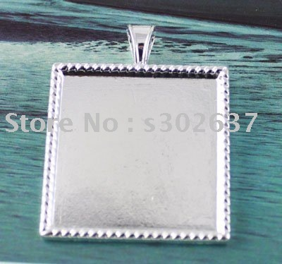"FREE SHIPPING 50Pcs 1"" Silver plated Cabochon Settings Pendant Trays glue on bail picture frame Square Charms A13744SP"