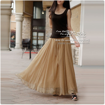 2012 bust chiffon skirt full dress expansion skirt nude color fashion women's tea summer