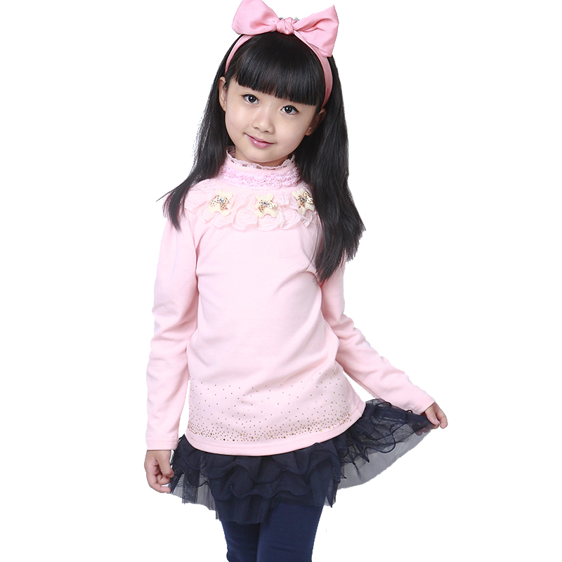 2015 Autumn Winter Girls Lace Shirts Bottoming Fashion Flower Long Sleeve Cotton Top Blouses Children's Clothing White/Pink - Xiao Tiao store
