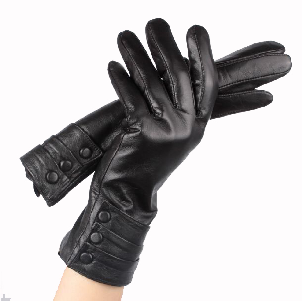 100% Natural Leather Gloves Women Touch Screen Gloves for iPhones Warm Winter Gloves 100% Soft Sheepskin Black Size S/M/L(China (Mainland))