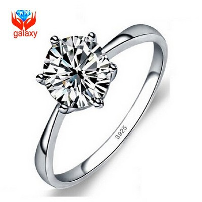 Classic 6 Claw Engagement Ring Real 925 Sterling Silver 1 Carat Hearts and Arrows CZ Diamond Wedding Rings for Women ZRD02(China (Mainland))