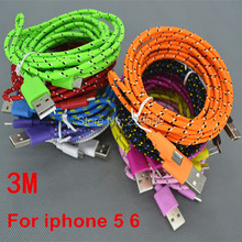 Buy 1000pcs 8 PIN Colorful 10FT 3M Noodle Fabric Nylon Braided Woven USB Charge Data Sync Cable iPhone 7 5 5S 6 Plus iOS 10 for $660.00 in AliExpress store