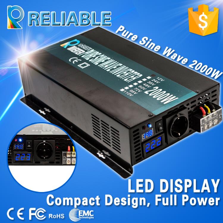 LED Display 2000W 12V 220V DC AC Converter High Frequency Converter Pure Sine Wave Solar Power Inverter For Refrigerator, TV(China (Mainland))