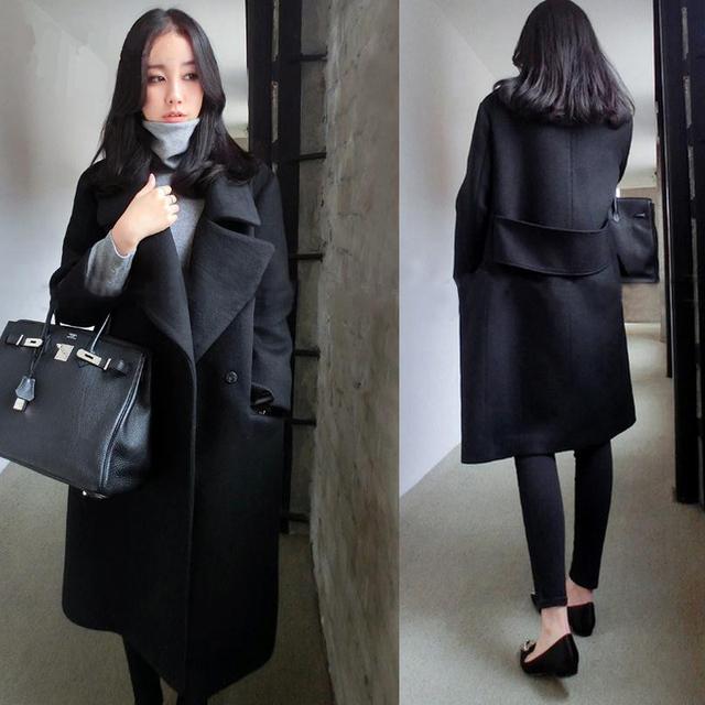 Женщины осень-зима шерсть пальто элегантный высокое качество плюс размер женщин шерстяное пальто длинный сплошной цвет шерсти куртки верхняя одежда MZ953