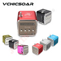 TD V26 Fashion Aluminum Mini Portable FM Radio with Speaker LED Digital Support SD TF Card