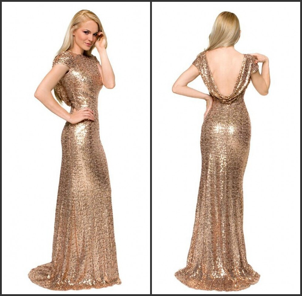 Popular Gold Sequins Long Mermaid Prom Dress-Buy Cheap Gold ...