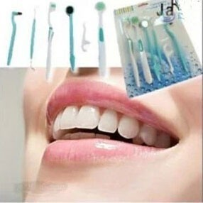 Oral care kit dental hygiene Oral clean tools(8 pc set)Dental floss toothbrush mouth mirror furred tongue brush whcn+
