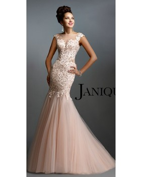 Evening Dresses 2015 Blush Formal Gowns Sheer Illusion Sweep Train With Short Capped Sleeves Lace Long Mermaid AL1003