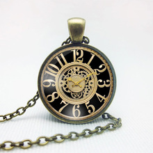 Vintage Clock Cabochon Pendant Necklace Antique Bronze Women Vintage Chain Necklace Retro Jewelry