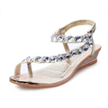 2016 Summer New Shoes Woman Brand Fashion Crystal Flat PU Leather Women Sandals Casual Sandals GOLD