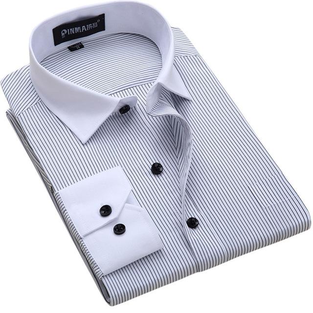 Большой размер 6XL мужская рубашка в полоску мода бренда дизайн 2016 весна новый ...