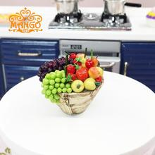 Play toys 1:12 Dollhouse Miniature Kitchen accessories A bowl of fruit grapes Free shipping(China (Mainland))