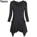 Womens V Neck Asymmetrical Hem Long Sleeve Knit Long Tunic Top with Pockets Black Casual Plus