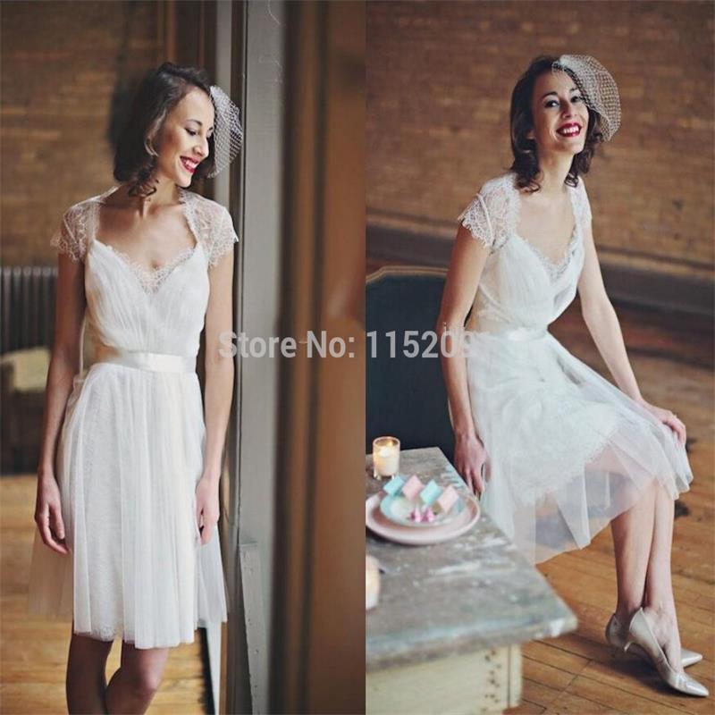 2016 summer beach knee length lace short cap sleeve for Knee length beach wedding dresses