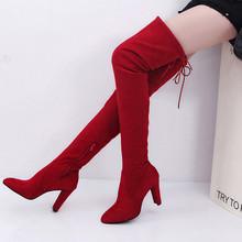 Giày Khởi Động phụ nữ thời trang Stretch Faux Mỏng Cao Hơn Khởi Động Đầu Gối Giày Cao Gót dây kéo khởi động phụ nữ 2018Oct5(China)