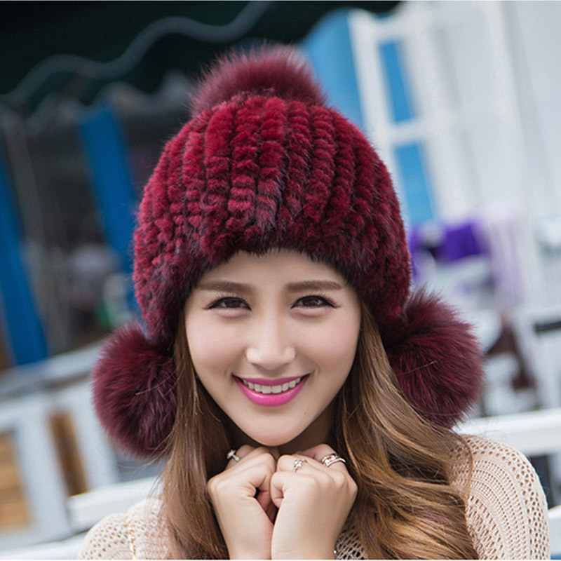 real mink fur hat for women winter knitted mink fur beanies cap with fox fur pom poms brand new thick female cap(China (Mainland))