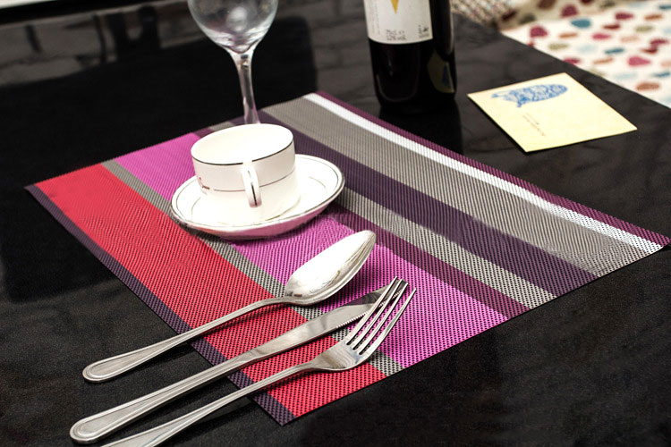 4 X PVC Table Mat With Woven Design Plastic Placemat Multicolor for Pick H03442(China (Mainland))