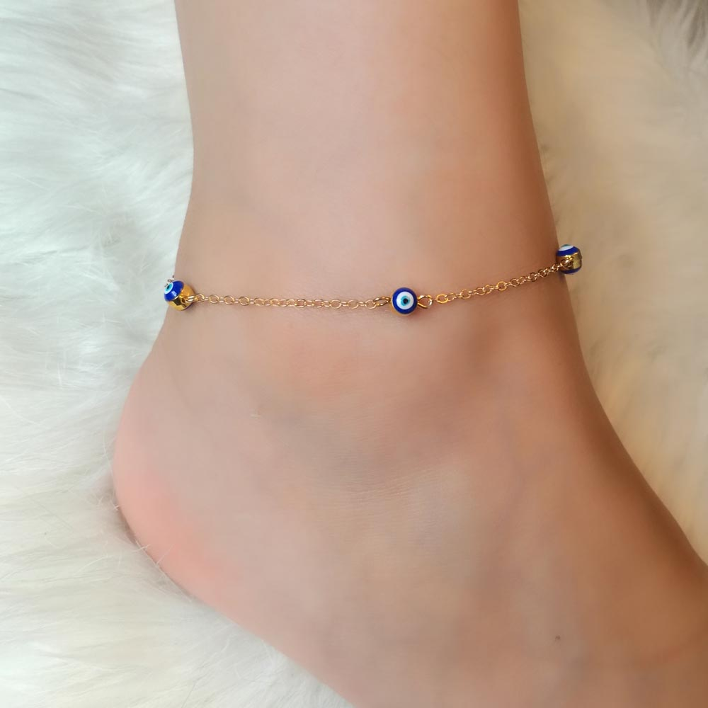 Fashion Anklet Bracelet Foot Jewelry Evil Eye Chram Turquoise Stone Gold Plate Chain Summer Jewelry Gift For Women and Girls(China (Mainland))
