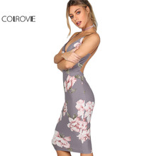 Buy COLROVIE Bodycon Party Dress Women Grey Floral Sexy Backless Slip Summer Dresses 2017 Fashion Plunge Neck Elegant Midi Dress for $12.98 in AliExpress store