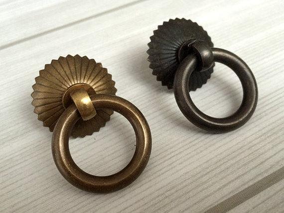 Small Drop Ring Pulls Dresser Pull Knobs Copper Drawer Knob Pulls Handles Rings Antique Brass Black Kitchen Cabinet Pulls Knob <br><br>Aliexpress