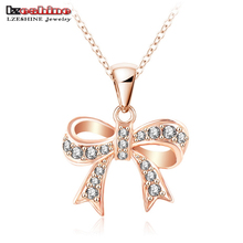 Bow Necklace Chunky Genuine SWA Elements Jewelry Real 18K Rose Gold Plated Austrian Crystal Necklaces Pendants ITL-NL0034
