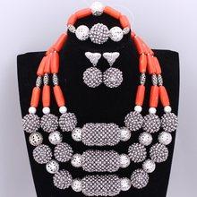 4 ujewelry בסדר נשים כסף שרשרת סטים לכלות גדול כדורי מודגש באיכות גבוהה דובאי תכשיטי סטים ספינה חינם(China)