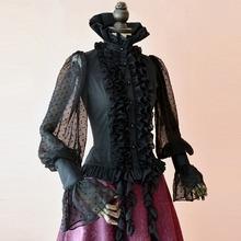 Spring summer women Steampunk Victoria black blouse