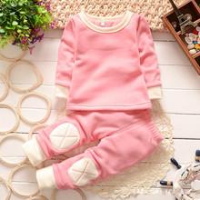 Retail Autumn Winter Baby Boy Girl Thicken Sleepwear Pajamas Clothes Set Full Sleeve Warm Stickers Cloth Kids Leisure Wear(China (Mainland))