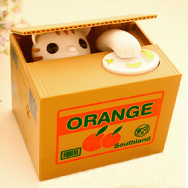 Fashion Cute Cat Automatic Stole Coin Piggy Bank 12x10x9cm Size Money Saving Box Moneybox Gifts for Kids(China (Mainland))