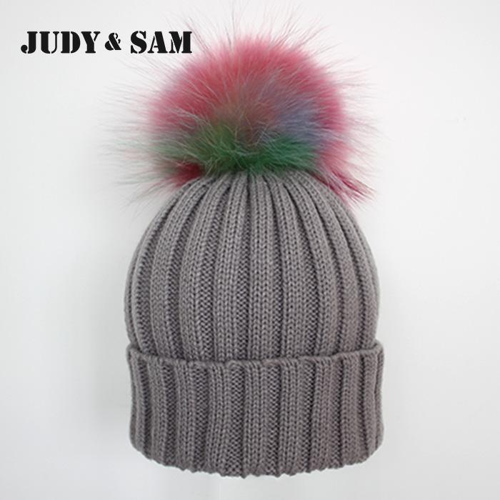 Rainbow Real Fur Pom Pom Stripped Knitted Hat Raccoon Fur Ball Chrochet Beanies for Men(China (Mainland))