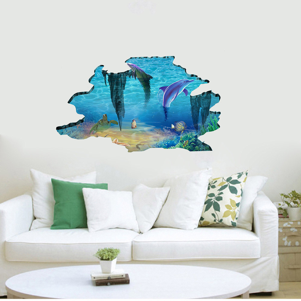 Dolphin Ocean World 3d Wall Stickers Kids Rooms Decoration