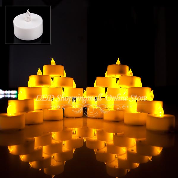 Freeshipping 30 pcs/lot LED Smokeless Flickering Battery electronic Candles Tea Light 1.5inch Christmas holiday decoration(China (Mainland))