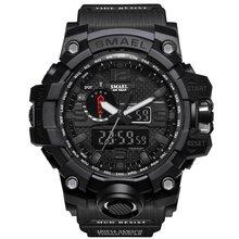 SMAEL marque hommes sport montres double affichage analogique numérique LED électronique Quartz montres étanche natation militaire montre(China)