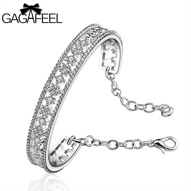 Fashion Women Engagement Jewelry Silver Gem Crystal Zircon Female Wedding Bracelets Retro Cross Bangles SB216 - Gagafeel Factory Co., Ltd store