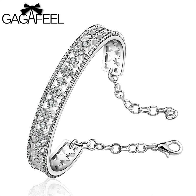 Fashion Women Engagement Jewelry Silver Gem Crystal Zircon Female Wedding Bracelets Retro Cross Bangles SB216 - Gagafeel Factory Co., Ltd store